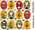 Christmas seamless pattern with balls , deer, Santa, elf, deer,bell, tree and present - stock