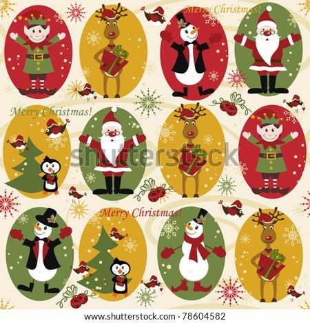 Christmas seamless pattern with balls , deer, Santa, elf, deer,bell, tree and present - stock vector