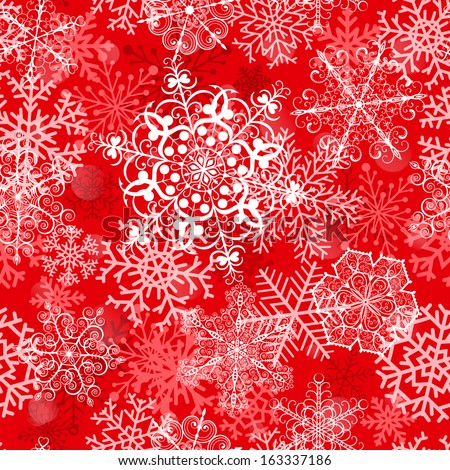 Christmas seamless pattern with big snowflakes on red background - stock vector