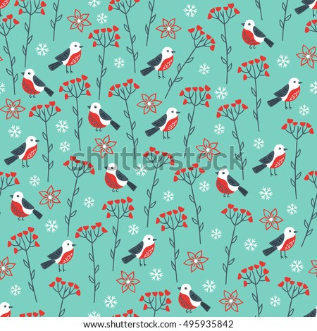 Christmas seamless pattern with birds, flowers, berries and snowflakes. Perfect for greeting cards, wallpaper, gift paper, web page background, winter decorations.
