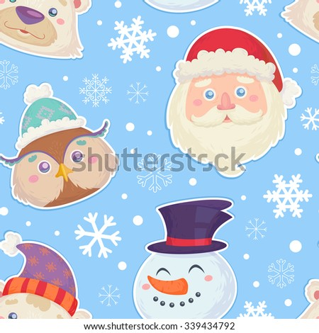Christmas seamless pattern with characters heads of  smiling snowman, white polar bear, cute owl and santa claus in winter hats - stock vector