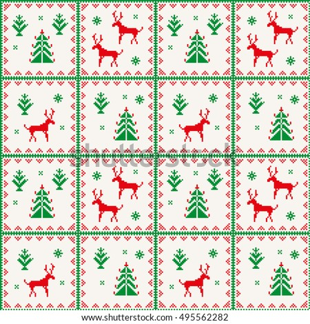 Christmas seamless pattern with deer, snowflake, tree and strips. Red and green pixel images with light background. Ideal for wrapping paper.