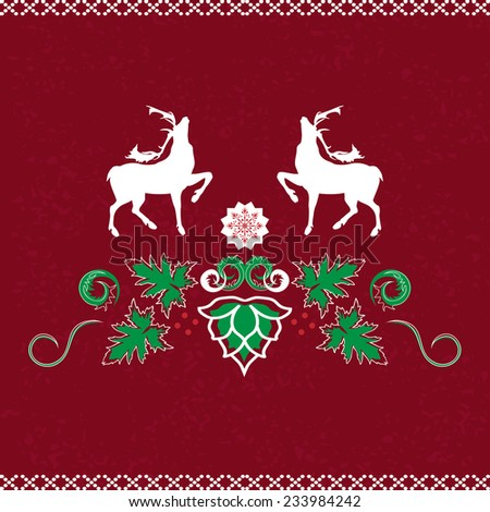 Christmas seamless pattern with deer, vector illustration.