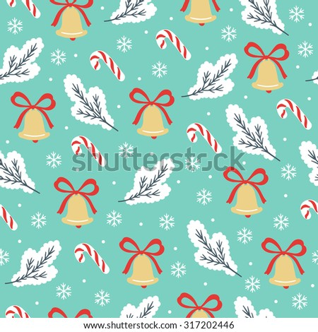 Christmas seamless pattern with fir branches, bells, bows, candies and snowflakes. Perfect for wallpapers, wrapping papers, pattern fills, web page background, Christmas and New Year greeting cards  - stock vector