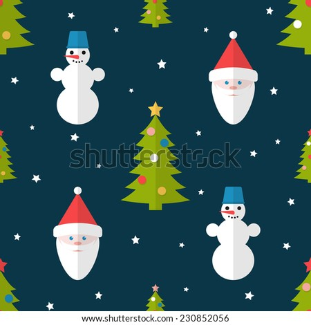 Christmas seamless pattern with fir trees, snowmen and Santa in flat style - stock vector