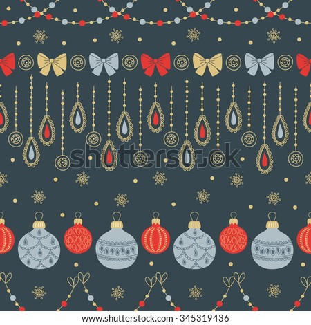 Christmas seamless pattern with garlands, ball, bows and snowflakes. Perfect for winter invitations, Christmas and New Year greeting cards, decorations, wallpaper, gift paper