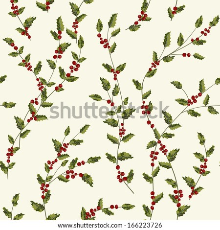 Christmas seamless pattern with holly leaves and berries - stock vector