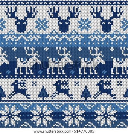 Christmas Seamless Pattern Ornaments Jacquard Knitting Stock Vector
