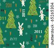 Christmas seamless pattern with rabbit holding carrot and Christmas tree - stock vector