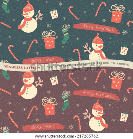 Christmas seamless pattern with snowmen and gifts. Two color background version.