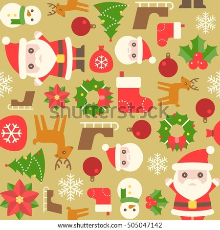 Christmas seamless pattern with sock, santa, christmas flower, sleigh, snowflake, reindeer, mistletoe, ball, tree and elements on gold background, flat design