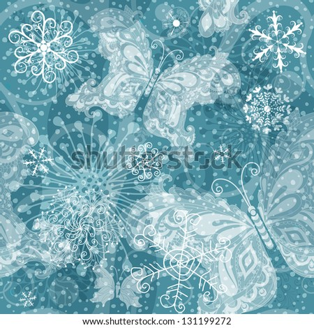 Christmas seamless pattern with translucent vintage snowflakes and  butterflies and snow (vector EPS 10) - stock vector