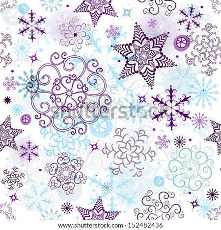 Christmas seamless pattern with transparent snowflakes and stars (vector EPS 10) - stock vector