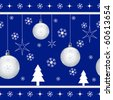 Christmas seamless pattern with xmas balls, stars, snowflakes and xmas trees on blue background. Raster also available. - stock vector