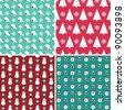 Christmas seamless patterns set - stock vector