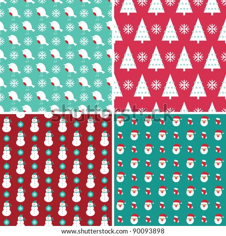 Christmas seamless patterns set - stock vector