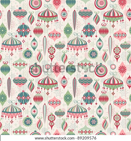 Christmas seamless retro pattern. Vector illustration. - stock vector
