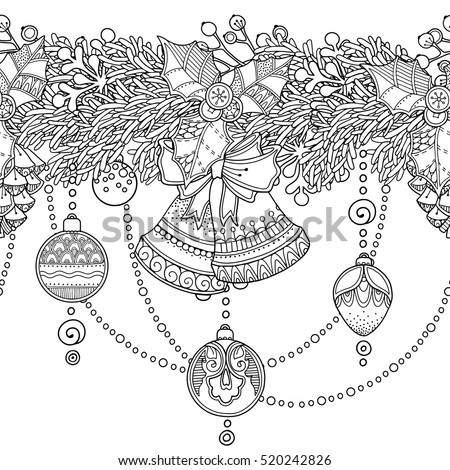 Zentangle Coloring Book Page Christmas Seamless Vector Border In Doodle Style Floral Ornate Decorative Tribal