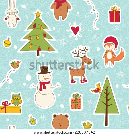 Christmas seamless with festive forest - stock vector