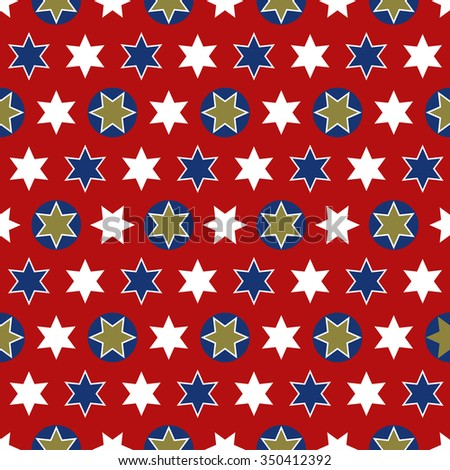 Christmas seamless wrapping paper - a repeating pattern with stars, red, gold, white and blue