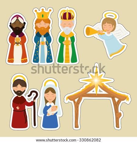 Christmas season cartoon graphic design, vector illustration. - stock vector