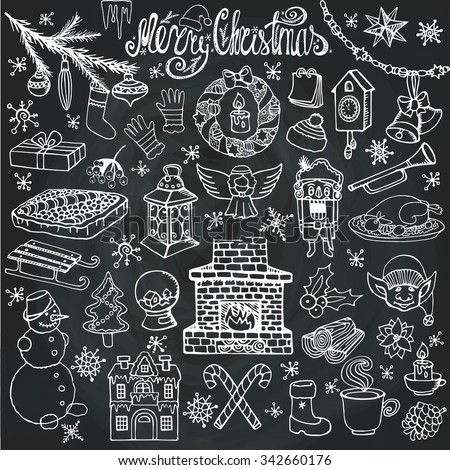 Christmas season doodle set.Knitted wear, winter decoration,snowflakes,food,snowman,fireplace ,holiday symbols, new year elements.Hand drawn vector,white on chalkboard background. - stock vector