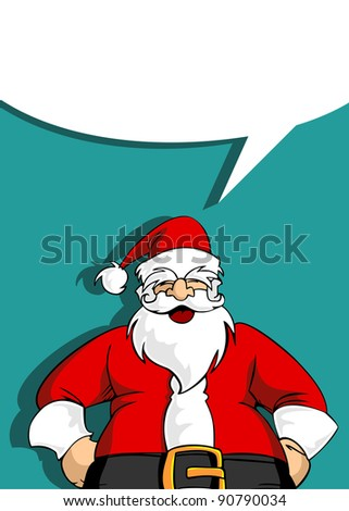 Christmas Series: Happy Santa Claus laughing with his hands on his belly with a blank speech bubble. Vector file available.