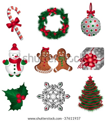 Christmas Set. A collection of Christmas elements which includes a candy cane, a wreath, a Christmas ball, a snowman, gingerbread cookies, a gift, a holly, a snowflake and a Christmas tree.