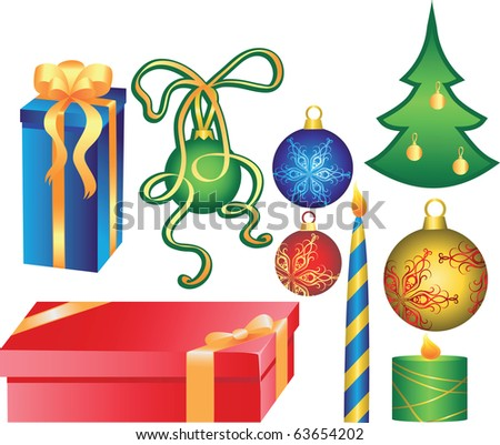 Christmas set.Holiday design elements. - stock vector