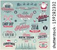 Christmas set - labels, emblems and other decorative elements. - stock