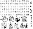 Christmas set of black sketch. Part 12. Isolated groups and layers. - stock photo