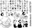 Christmas set of black sketch. Part 104-8. Isolated groups and layers. - stock photo