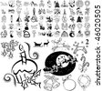 Christmas set of black sketch. Part 105-2. Isolated groups and layers. - stock vector