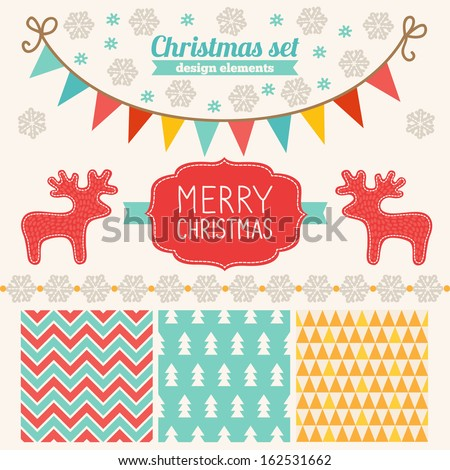 Christmas set of design elements - patterns, label, snowflakes, garlands - stock vector