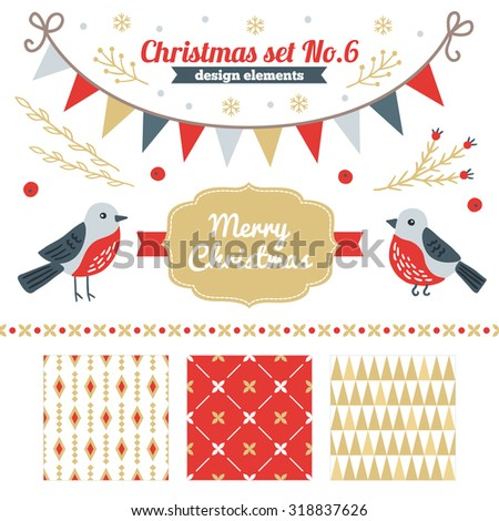 Christmas set of design elements - seamless patterns, label, branches, birds, border, snowflakes, garlands Perfect for winter wallpaper, gift paper, textile, Christmas and New Year greeting cards - stock vector