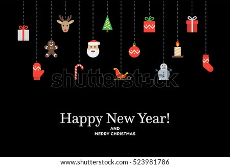 Christmas set of icons and elements, tree, deer, present, stocking, mitten and Santa. Material design Vector illustration with Happy New Year lettering