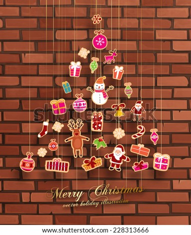 Christmas set of icons and elements, vector. Brick wall background. - stock vector