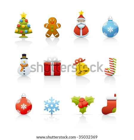 Christmas Set of icons on white background in Adobe Illustrator EPS 8 format for multiple applications. - stock vector