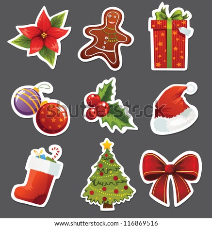 Christmas set of stickers - stock vector