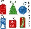 christmas set of tags - stock vector