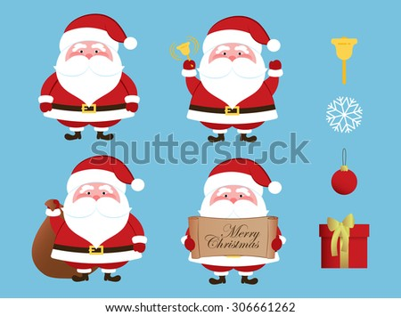 Christmas set - Santa Claus - stock vector