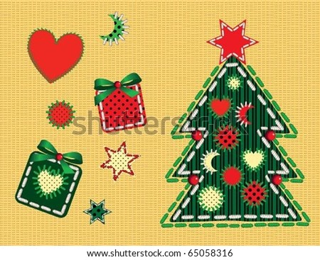 Christmas set. The vector illustration of set of sewn-looking objects in Christmas style. Each object is on separated layer.