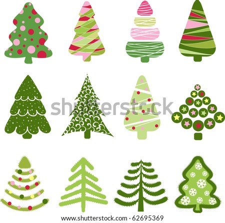 Christmas set tree. Elements for design - stock vector