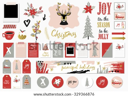 Christmas Set with Cards, Notes, Stickers, Labels, Stamps, Tags with winter and christmas Illustrations and Wishes. Template for Greeting Scrap booking, Congratulations, Invitations. - stock vector