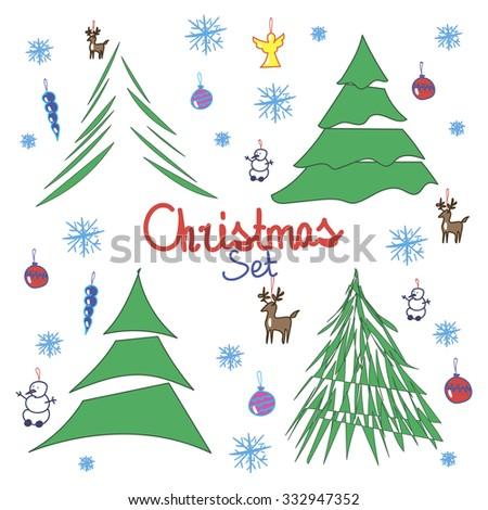 Christmas set with christmas tree and toys - stock vector