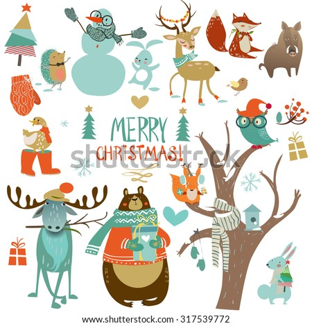 christmas set with wild animals - stock vector