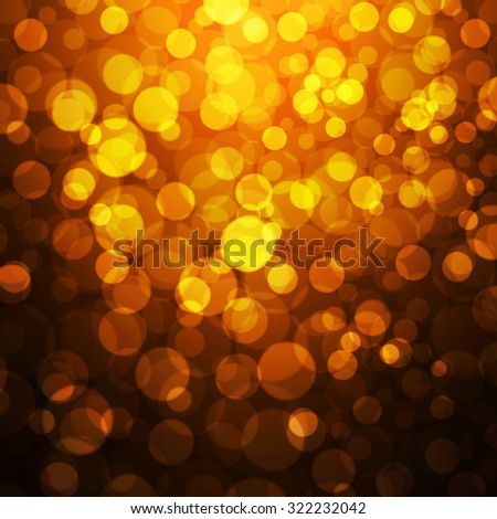 Christmas shiny background with lights in golden yellow colors - Vector - stock vector