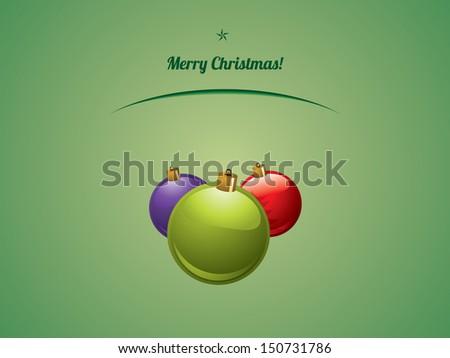 Christmas shiny baubles postcard - stock vector