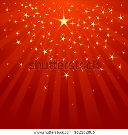 Christmas Shooting Star on starry background  - stock vector