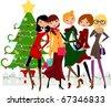 Christmas shopping - stock vector